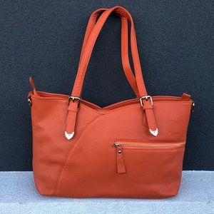 Evolving Always Bags - Beautiful Sizable Orange Leather Bag